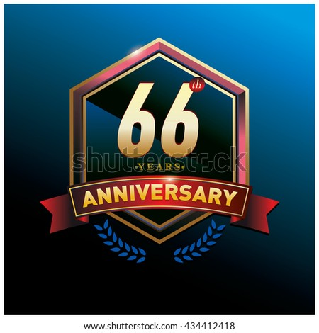 66th anniversary logo with gold ring and red ribbon. Anniversary signs illustration. Gold anniversary logo design and illustration