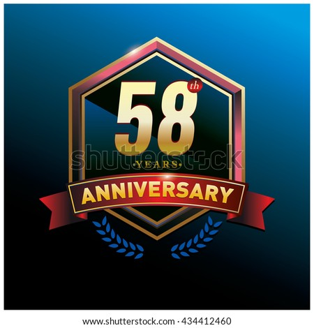 58th anniversary logo with gold ring and red ribbon. Anniversary signs illustration. Gold anniversary logo design and illustration