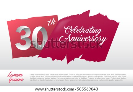 30th anniversary logo red abstract backgrond stock vector 505569043