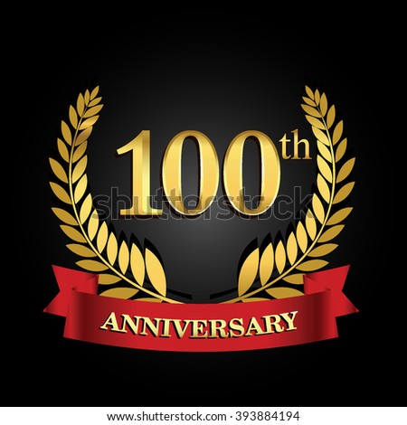100th anniversary logo with red ribbon. 100 years anniversary signs illustration. golden anniversary wreath ribbon logo.
