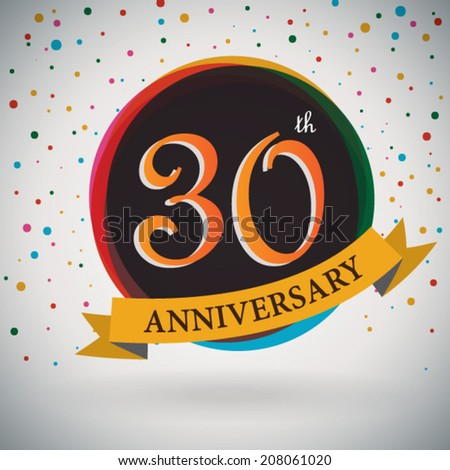 30th Anniversary poster / template design in retro style - Vector Background - stock vector