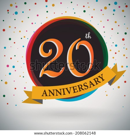 20th Anniversary poster / template design in retro style - Vector Background - stock vector
