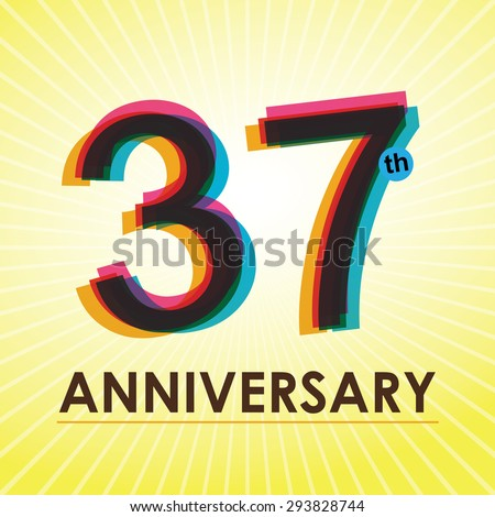 37th Anniversary poster / template design in retro style - Vector Background - stock vector