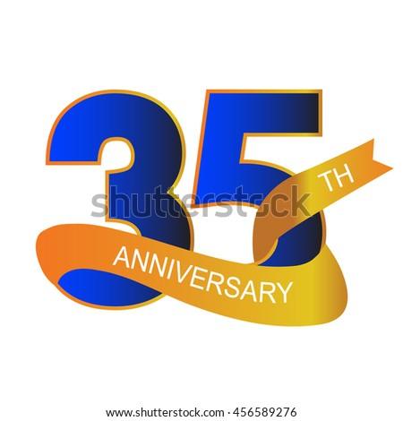 35th Anniversary Sign Label Vector Illustration Stock Vector