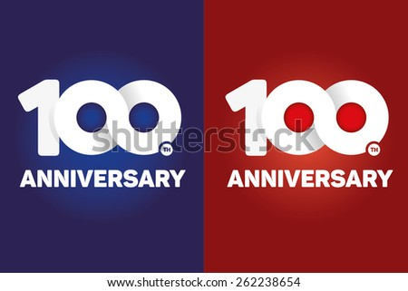 100th anniversary with an infinity symbol creative design blue red background stock vector - Th anniversary symbol ...