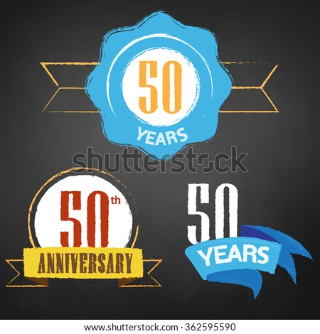 50th Anniversary/ 50 years colorful chalk emblem vector with 3 different options - stock vector