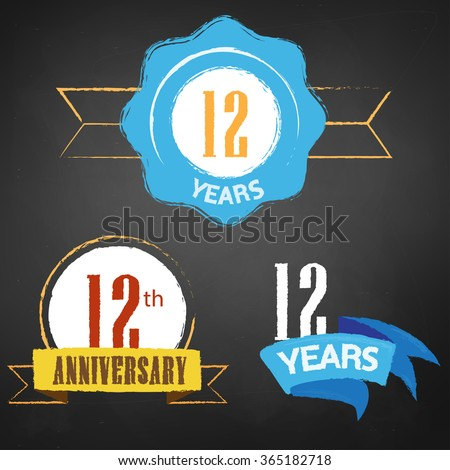 12th Anniversary/ 12 years colorful chalk emblem vector with 3 different options - stock vector
