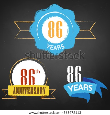 86th Anniversary/ 86 years colorful chalk emblem vector with 3 different options