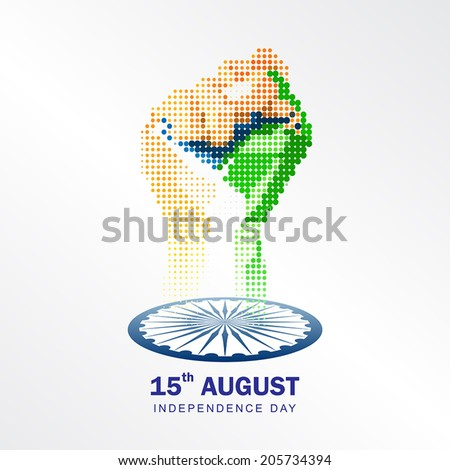 15th August, India Independence Day celebrations concept with geometric shape hand fist in national flag color theme on white background - stock vector