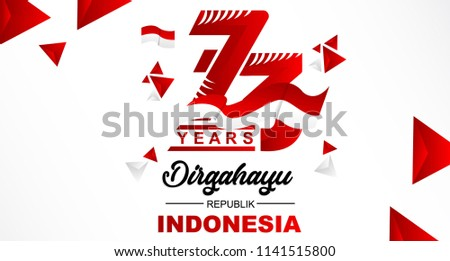 73th August 2018 Logo Special happy independence Indonesia day red and white bacground vector illustration Design 2