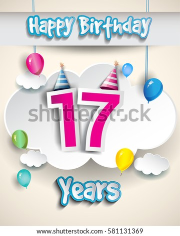 17th Birthday Celebration Design Clouds Balloons Stock Vector