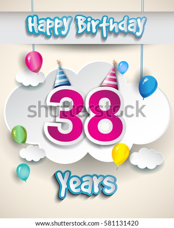 98th Birthday Celebration Design Clouds Balloons Stock Vector Happy 38 Birthday Wishes