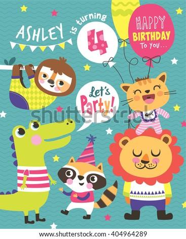 4th birthday party invitation card stock vector royalty free 4th birthday party invitation card filmwisefo