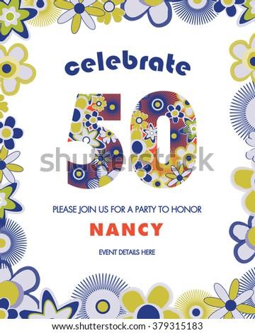 Th Birthday Party Invitation Template Retro Stock Vector - Party invitation template: 50th birthday party invitation template