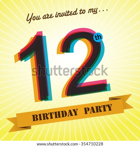 12th Birthday party invite / template design in retro style - Vector Background