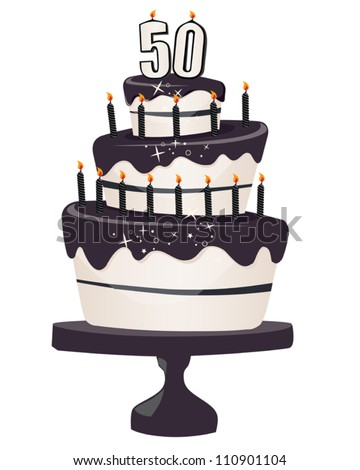 50th Brithday Clip art Cake with Black Icing and Candles - stock vector