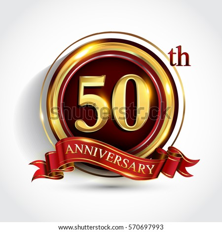Golden jubilee stock images royalty free images vectors 50th golden anniversary logo fifty years birthday celebration with ring and red ribbon isolated on yadclub Image collections