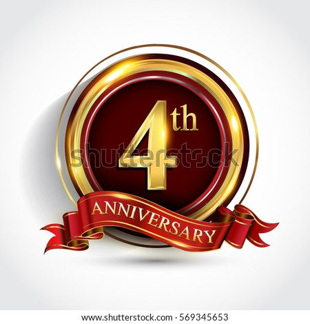 4th golden anniversary logo four years stock vector royalty free 4th golden anniversary logo four years birthday celebration with ring and red ribbon isolated on altavistaventures Image collections