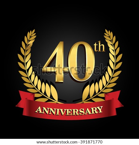 40th golden anniversary logo with red ribbon. 40 years anniversary signs illustration.