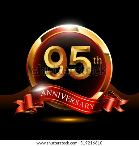 95th golden anniversary logo. with ring and red ribbon