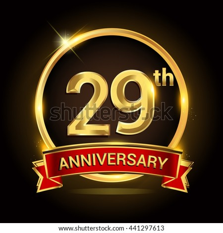 29th Golden Anniversary Logo Ring Red Stock Vector 441297613