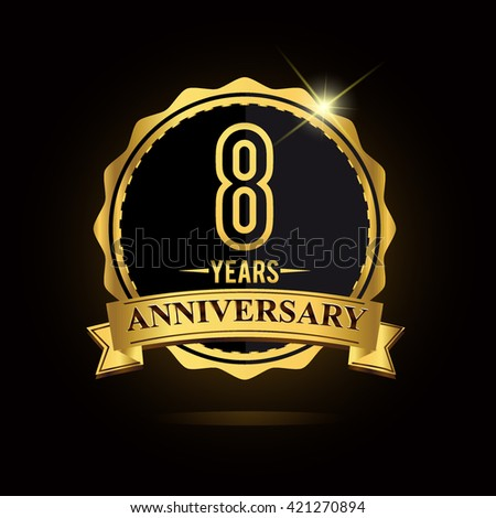 8th golden anniversary logo, 8 years anniversary celebration with ring and ribbon.