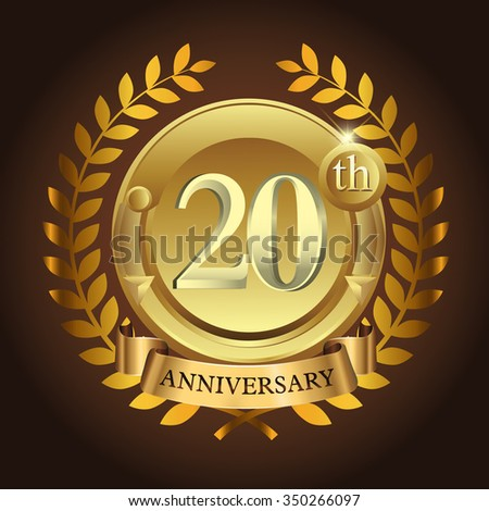 20th golden anniversary wreath ribbon logo