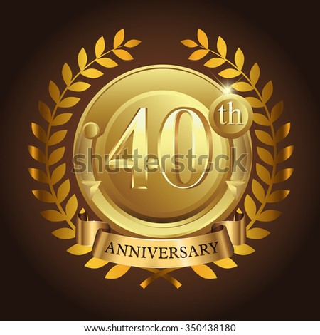 40th golden anniversary wreath ribbon logo