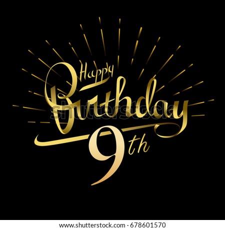 9th Happy Birthday Logo Beautiful Greeting Stock Vector 678601570