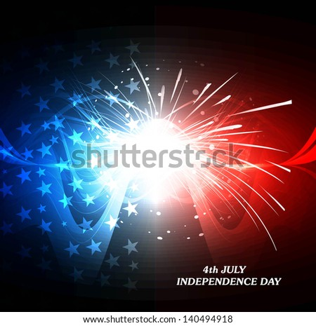 4th july american independence day bright colorful flag wave celebration background vector - stock vector