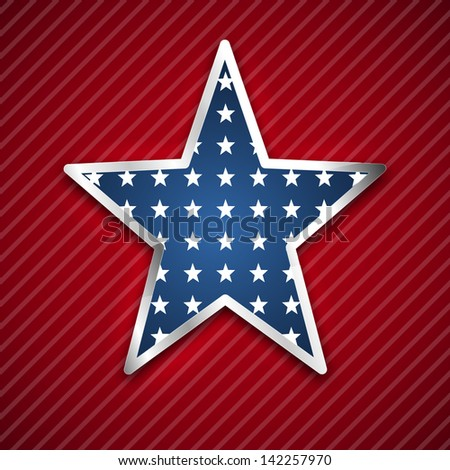 4th July, American Independence Day concept with star on red background. - stock vector