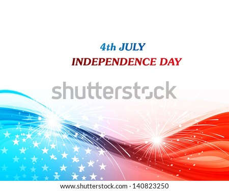 4th july american independence day flag celebration wave background vector - stock vector
