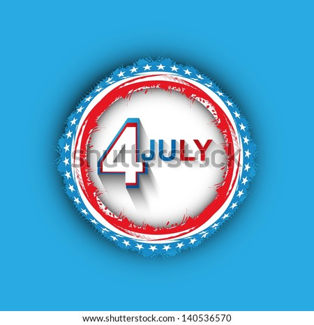 4th july american independence day grunge flag circle blue background illustration