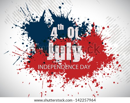 4th July, American Independence Day grungy background. - stock vector