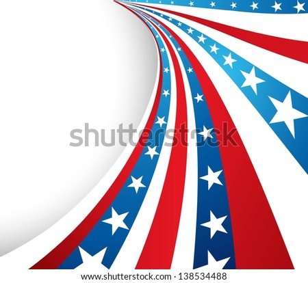 4th july american independence day red white and blue flag wave vector - stock vector