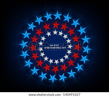 4th July American Independence Day star blue background vector illustration