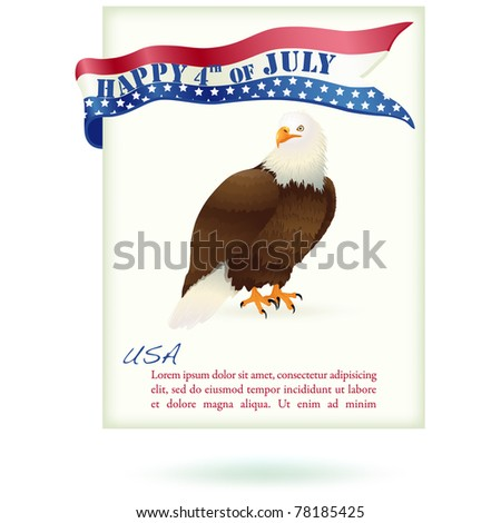 4th July Design Greeting Card. Vector. Plenty o space to write your own text. - stock vector