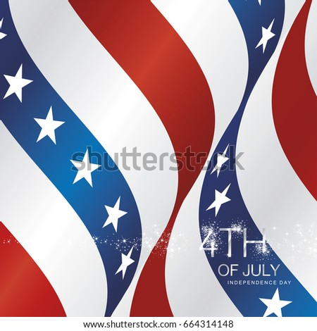 4th July firework USA ribbon vector