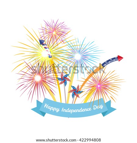 4th july fireworks background, fourth of july vector banner, american national flag decoration, celebration usa independence day illustration, symbol of united states freedom, patriotic holiday