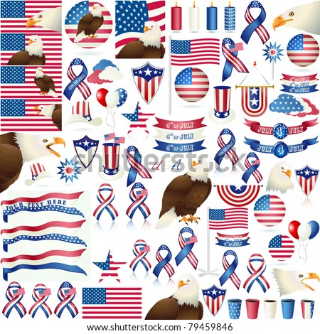 4th July Independence day and for Presidential election HUGE vector object set isolated on white. VECTOR EPS 8 - stock vector