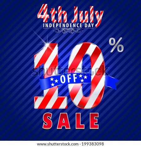 4th July Independence Day sale, 10% off sale - vector eps10