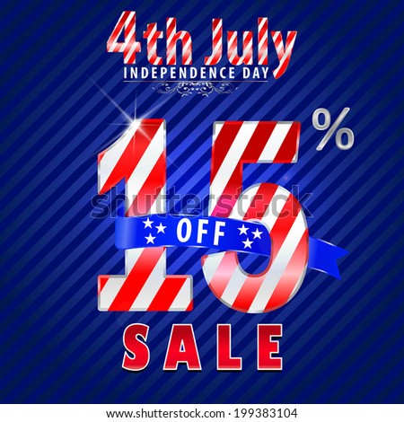 4th July Independence Day sale, 15% off sale  - vector eps10