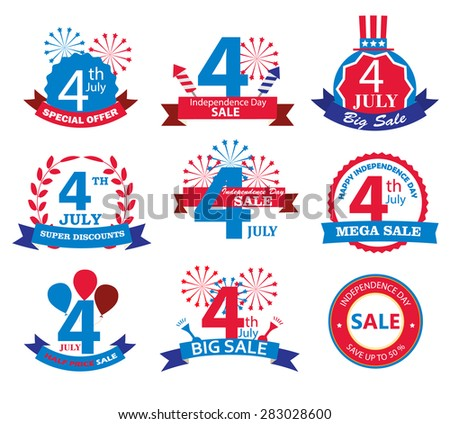 4th july Independence Day sale tags.  Sale banners set, vector illustration - stock vector