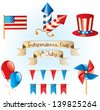 4th July Independence Day set, vector - stock vector