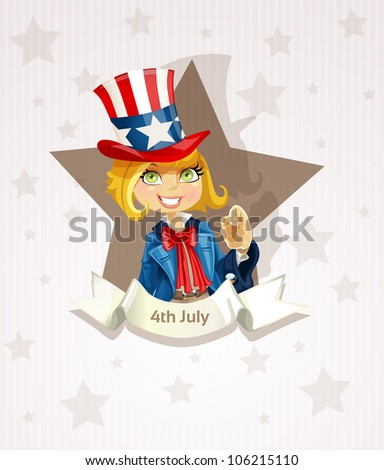 4th July poster with pretty blond girl - stock vector