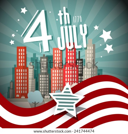 4 th July Retro Vector Illustration with Flag and City on Background