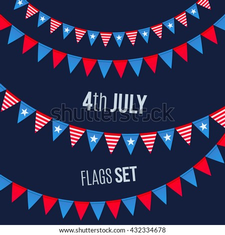 4th July USA Independence day vector triangular flags ropes set on dark background - stock vector