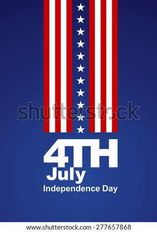 4th July white stars red white blue background - stock vector