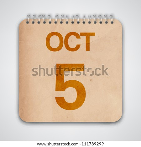 5th October on Old Notebook Vector