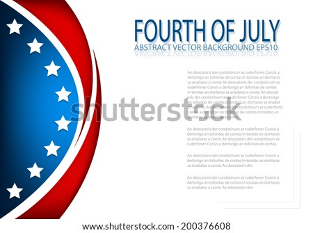 4th of July, American independence day background curve for text and message design , vector